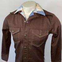 Vtg 60s 70s Leisure Suit Jacket Disco Coat Hippie Mod JCPenney Brown MENS SMALL