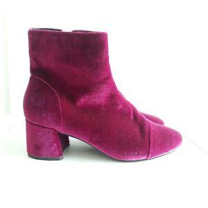 Miss Selfridge Bright Pink Velvet Low Heel Zip up Retro Ankle Boots Sz 4 / 37