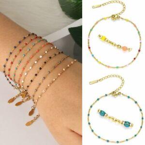 Stainless Steel Enamel Beads Bracelet Charm Bangles Chain Women Jewelry Gift