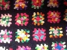 Vintage Granny Squares BLACK Handmade Afghan 51x41 Crochet Throw Blanket