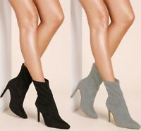 New Womens Pointed Toe Stiletto High Heel Ladies Stretch Ankle Boots Shoes Pumps