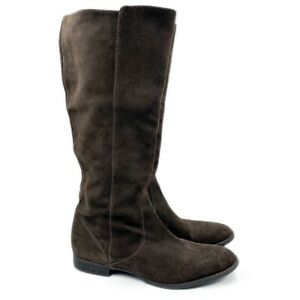 J. Crew Brown Soft Suede Leather Knee High Riding Boots Women's 9.5 Italy