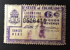 Colorado State Revenue - 6 cents Liquor Tax #WL40 - used - CO