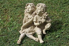 Sitting Girl & Boy Cement Concrete Plaster Latex Mould Mold Garden Ornament