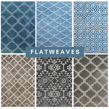 **New** Modern Navy Teal Grey Geometric Trellis Flatweave Outdoor Quality Rug