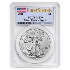 Presale - 2021 $1 Type 2 American Silver Eagle Pcgs Ms70 Fs Flag Label