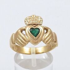 10K Gold Emerald Heart Celtic Claddagh Ring  Sz 9 Made in Ireland