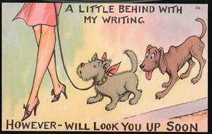 BEHIND IN WRITING Dog Sniffing Butt Vtg Comic Postcard