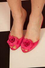 Hot pink rosette peeptoe mules size 4 open toe evening shoes