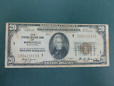 1929 National Currency $20 Bill Note Federal Reserve Bank of Minneapolis *RARE*