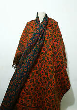 NEW Tibetan 100% Yak Wool Shawl,WRAP,Ethical Hand loomed Reversible BLUE scarf