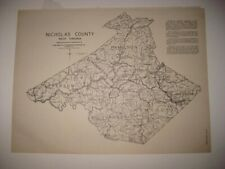 ANTIQUE 1933 OHIO NICHOLAS COUNTY WEST VIRGINIA MAP RICHWOOD WHEELING DETAILED