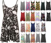 New Plus Size Womens Strappy Sleeveless Printed Ladies Mini Dress Vest Top 16-26