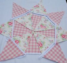Cath KIDSTON Spray Flowers Bunting  Pink Laura Ashley  Gingham 15 flags 3.75 mt