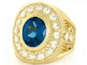 10k or 14k Solid Yellow Gold Blue CZ Mens Ring