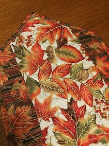 Handcrafted-Quilted Table Runner - Maple, Oak, Beech Leaves in Brilliant Colors