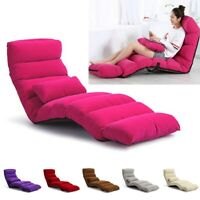Three Folding Lazy Sofa Chair Stylish Sofa Couch Bed Lounge Chair With Pillow