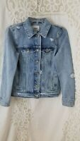 Old Navy Small Women's Blue Distressed Long Sleeve Button Front Denim Jacket