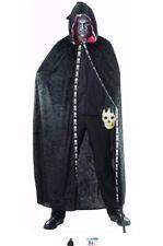 Zombie fancy dress Hooded Velvet Cloak Cape costume Black Skulls Halloween