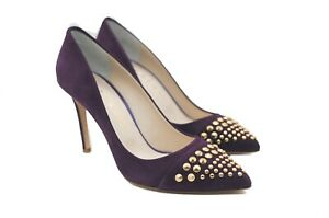 LucyToni Suede Court Shoes with Gold Studded Toe with Heels