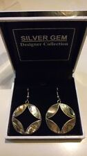 ANDEA MEXICO Abalone Shell DISCS Drop Dangle Silver Earrings NEW in Gift Box****
