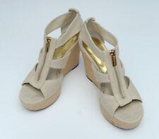 Michael Kors Damita Wedge Natural Ivory Canvas Platform Heel Sandal Size 7.5
