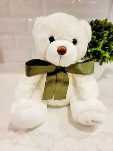 "Vintage • ""My Harrods Teddy"" Bear Plush • White w/ Green Bow 10"" MINT • SO CUTE!"