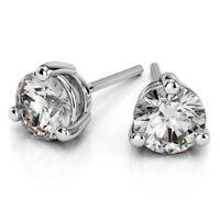 0.40 Cts Round Brilliant Cut Diamonds 3-Prong Stud Earrings In Hallmark 18K Gold