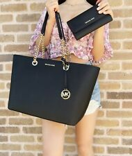 Michael Kors Shania Leather Black Large Gold Chain Tote Handbag Bag Purse