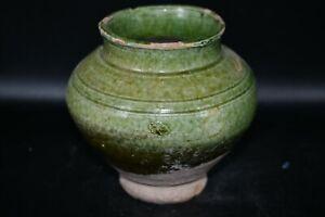 Lovely Genuine Ancient Islamic Ceramic Pot with Elegant Green Glazed Color