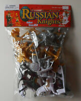 1:32 Russian Knights 4 Horses w Weapons Plastic Toy Solder Figures In Bag #37