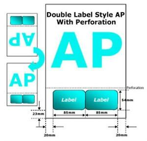1000 x A4 Integrated Labels Double Sticker Perforated