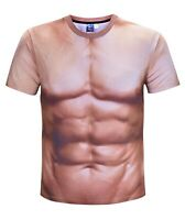 Mens Realistic Muscle Costume T-Shirt ( funny costume novelty stag hen party )