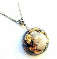 pendant Orgone Orgonite Moonstone Necklet  Lapis Lazuli, 24K Gold, chakra,