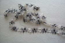 Vintage Cotton Hand Tatted Lace Trim Stunning Variegated Black Gray White