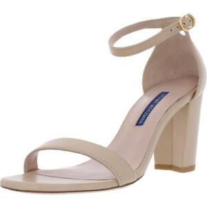 Stuart Weitzman Womens Nearlynude Beige Block Heels 7 Medium (B,M) BHFO 9663