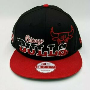 Chicago Bulls NBA Snap Back New Era 9Fifty Hat Black Red Hardwood Classics Cap