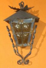 Antique Spanish Mission Revival Wrought Iron Amber Crackle Glass Light