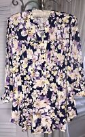 NEW Plus Size 3X Navy Blue Purple Floral Blouse Pin Tuck Top Button Jersey Shirt