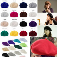 2019 Fashion Women's Solid Beret French Style Warm Beanie Hat Ladies Ski Cap SF