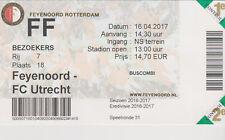 Sammler Used Ticket / Entrada Feyenoord Rotterdam v FC Utrecht 16-04-2017