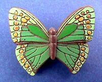 Hallmark PIN Vintage BUTTERFLY Brown GREEN Brooch 1978 RARE