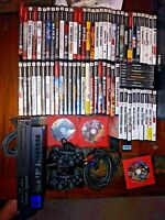Sony PlayStation 2 LOT (SCPH-30001), 2 Controllers,75 games, Free McBoot PS2
