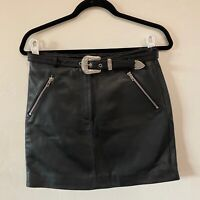 Maje Lamb Leather Mini Skirt Silver Cowgirl Belt Western 38 MED NWT minor flaw
