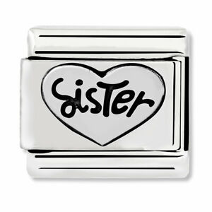 GENUINE Nomination Classic Heart Sister Silver Charm 330101/11