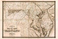 MAP ANTIQUE LUCAS 1841 MARYLAND STATE HISTORIC LARGE REPRO POSTER PRINT PAM1041