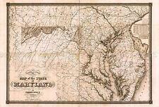 Mappa ANTICA Lucas 1841 Maryland stato storico grandi repro poster stampa pam1041