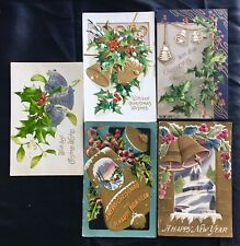 CHRISTMAS 5 ANTIQUE POSTCARDS 1907-15 all w/ BELLS GOLD & SILVER HOLLY NEW YEAR
