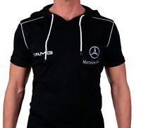 T-shirt à capuche Меrсеdеs АМG avec poches Sweat brodé Homme Coton Noir Auto 63