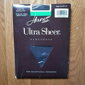 Hanes Ultra Sheer Control Top 709 Pantyhose Barely Black  D Up To  6' & 170 Lbs.